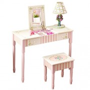 Fantasy Fields - Bouquet Thematic Kids Flip Top Mirror Vanity Table and Stool Set   Imagination Inspiring Hand Crafted & Hand Painted Details Non-Toxic, Lead Free Water-based Paint
