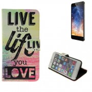 Case 360° Cover Pour Smartphone Tp-Link Neffos X1, 'live The Life You Love' | Fonction Stand Wallet Bookstyle Meilleur Prix, La Meilleure Performance - K-S-Trade (Tm)