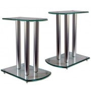 Pair Home Cinema Hifi Speaker Stands - Glass/Aluminium