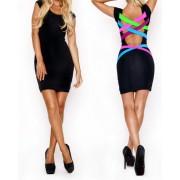 Vestitino donna nero retro strisce multicolore mod. Alameda tubino Mws AHEAD abito corto