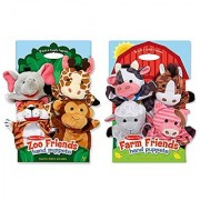 Melissa & Doug Animal Hand Puppets (Set of 2 4 animals in each) - Zoo Friends and Farm Friends