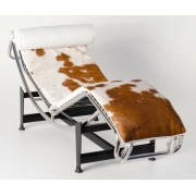 Replica Le Corbusier lounge LC4 with Brown Pony/Cowhide leather with white leather headrest