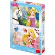 Puzzle 2 in 1 - Rapunzel si Aurora 66 piese