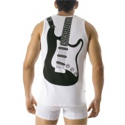 Clever Guitar Tank Top White T Shirt 0702 USA1