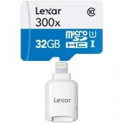 Lexar MicroSDHC 32 GB, a 45 MB/s + Lexar Adattatore microSD per dispositivi Apple