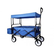 Blue Outdoor Sport Collapsible Folding Wagon W/ Canopy Garden Utility Shopping Travel Cart Large All Terrain Beach Tires Easy Setup No Screwdriver And Tools To Setup