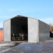 Intent24 Hangar 8x12m, porte 4x4,6m, toile PVC de 720 g/m², anti-feu, gris
