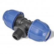 vidaXL PE Т-образен конектор за маркуч с мъжка резба, 16 бара, 32 мм, 3/4''
