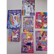 Lisa Frank Bundle of 7 Items-Activity Book Stickers Puzzle Glitter Art Velvet Art Dress-Up Sticker Dolls