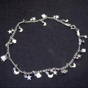 Tornozeleira de Prata com Lua, Estrela e Coração