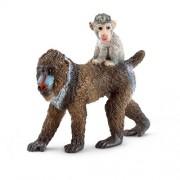 Schleich - 14716 - Figurine - Femelle Mandrill Avec Son Bébé