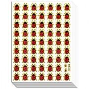 LADYBUG01 - 10 Sheets Ladybug or Ladybird Gold Edge Sticker Decorative Scrapbook Reflective Stickers for Kids - Size 4 X 5.25 Inch./sheet