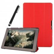 Funda Protector de Piel Cuero con Soporte Funda Protector Carcasa Para Asus Transformer Book T100 Chi Tablet 10.1 inch Rojo
