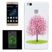 For Huawei P9 Lite Noctilucent Cherry Tree Pattern IMD Workmanship Soft TPU Back Cover Case