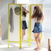 Biombo Divisor de Ambientes Com Espelho e 3 Asas Dobráveis Ammy Branco com Amarelo
