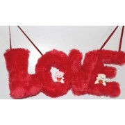 Beautiful Hanging Red LOVE Letters with Teddy Couple