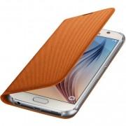 Husa Samsung EF-WG920BOEGWW tip carte portocalie (textil) pentru telefon Samsung Galaxy S6 (SM-G920)