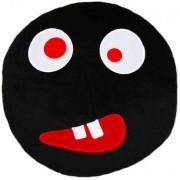 Soft Smiley Emoticon Black Round Cushion Pillow Stuffed Plush Toy Doll (Crazy Eyes)