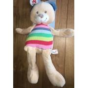 Doudou Ours Nicotoy Grand Modele Woodstock Beige Raye Oreilles Bleues Peluche Jouet Eveil Naissance Bebe Mixte Soft Toy Teddy Bear