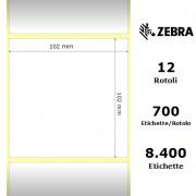 Zebra Z-Perform 1000D - Etichette in carta termica di colore bianco, formato 102 x 102 mm.