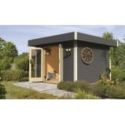 Karibu Premium Gartenhaus Multi Cube 4, Flachdach, Ganzglastür, Farbe natur
