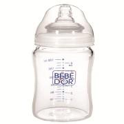 BIBERON BEBE D'OR din sticla cu gat larg, 180 ml