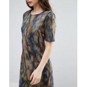 Lavand Smudge Print Skater Dress - Multi