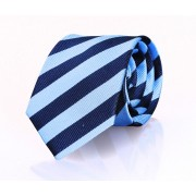 Krawatte Seide Blau Streifen FD13 - Blau