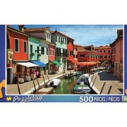 Colorful Boats and Homes Lining Canal - Venice - Puzzlebug - 500 Pc Jigsaw Puzzle - NEW