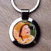 Fényképes fém kulcstartó - kör alakú