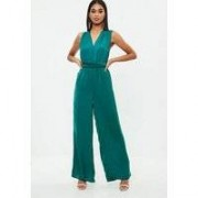 Missguided Green Satin Multi Way Wide Leg Jumpsuit, Blue