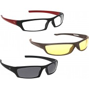 Vast New Day & Night Vision Driving Plus Summer Special(Yellow,White,Grey)-COMBO 1 Cycling Goggles(Multicolor)
