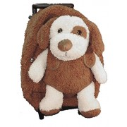 Plush Puppy Dog Brown Furry Trolly Rolling Backpack w/ Wheels
