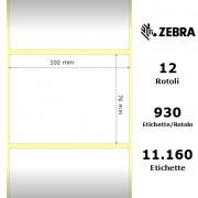 Zebra Z-Select 2000D - Etichette in carta termica protetta di colore bianco, formato 102 x 76 mm.
