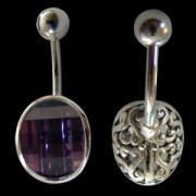 Piercing de nombril Oeil de cristal violet