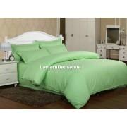 Lenjerie de pat damasc cu elastic ptr saltea de 100cm - verde