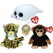 Ty Beanie Babies Bananas Monkey & Spotty Leopard Icy White Seal Boos Zoo Animals Gift Set Of 3 Toys 6-8 Inches Tall Wi