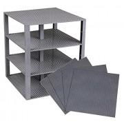 "Premium Gray Stackable Base Plates 4 Pack 10"" X 10"" Baseplate Bundle With 60 Gray Bonus Building Bricks (Lego Compatible) Tower Construction"
