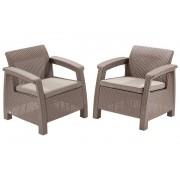 Corfu duo fotel műrattan kerti bútor Cappuccino, beige párnával ALLIBERT