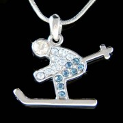 Swarovski Crystal Blue Skier Skiiing in Snow Ice Ski Charm Necklace