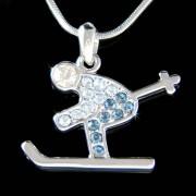 Swarovski Crystal Blue Skier Skiiing in Snow Ice Ski Charm Necklace