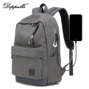 DOPPULLE Brand USB Charging Headphone Man Backpacks Male Casual Travel women Teenagers Student Simple Notebook Laptop Backpack