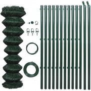Chain Fence 1 x 15 m Green with Posts & All Hardware