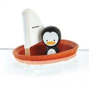 Drewniana żaglówka z pingwinem - zabawka z drewna żaglówka do kąpieli, wanny, Plan Toys