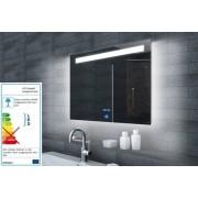Neuesbad Lichtspiegel LED Beleuchtung, Uhr und Touch Schalter, B:1400, H:650 mm NBSP131