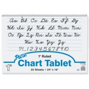 Chart Tablets w/Cursive Cover, Ruled, 24 x 16, White, 25 Sheets/Pad