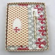 Rubinato mintás jegyzettömb tollal - bordó
