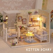 Doll House Furniture Diy Miniature Dust Cover 3D Wooden Miniaturas Puzzle Dollhouse For Child Birthday Gifts Toys-Kitten Diary