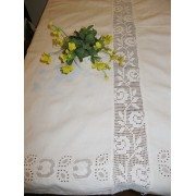 Antique Romanian Hungarian hand embroidered homespun tablecloth from Transylvania