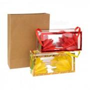 Bolsa Kraft Mini Magic + flor de cajas Set - marron + Multicolor